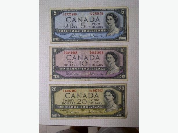 1954 Series Canadian Banknotes