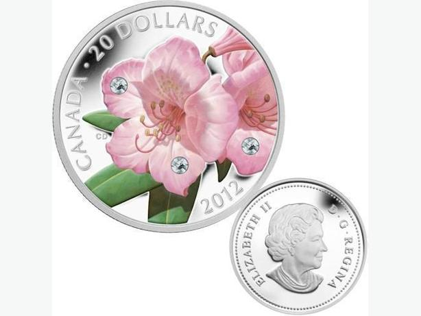 2012 Fine Silver Coin - Rhododendron Crystal Dew Drop