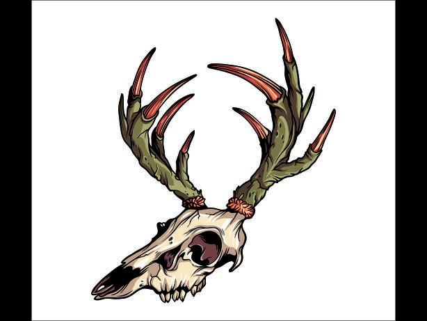 Buck Deer Skull Die Cut Vinyl Decal Sticker Car Truck Jeep