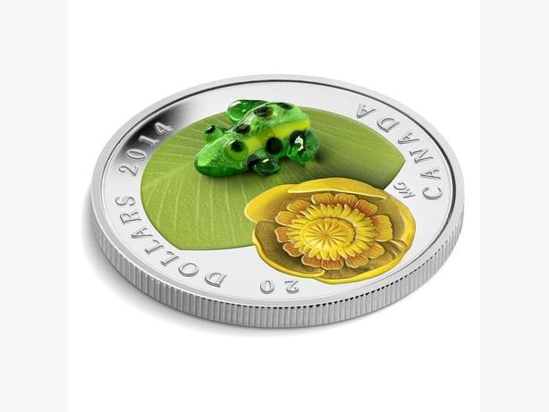 1 oz. Silver Coin - Water-lily and Venetian Glass Leopard Frog