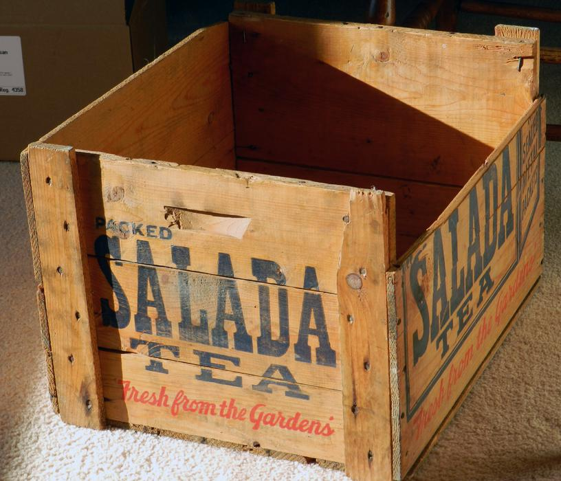 Antique wooden shipping crate for salada tea in sealed for Uses for old wooden crates