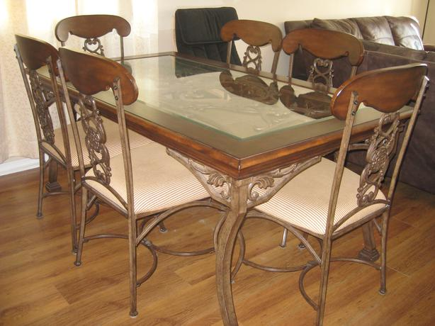 Wood wrought iron dining set w matching hutch kanata for Ornamental centrepiece for a dining table