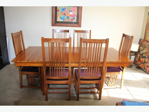 Solid Quarter Sawn Oak Mission Dining Room Table And 6