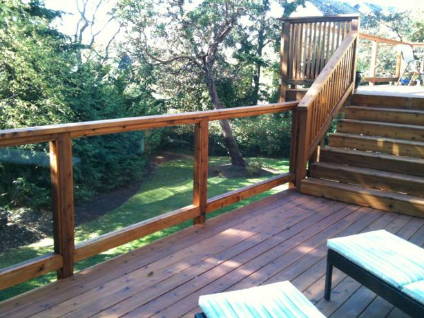Tempered glass deck railing panels esquimalt view royal for Garden decking glass panels
