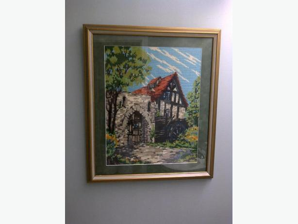 Needlepoint Framed Picture of a Mill
