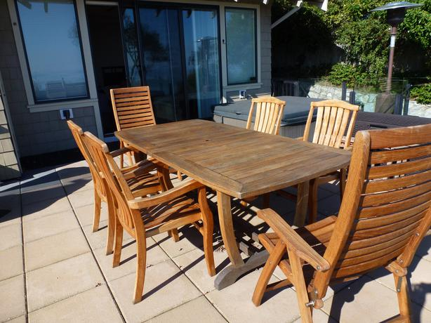 Teak patio dining set saanich victoria for Used patio dining sets