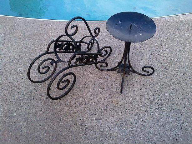 DECORATIVE WROUGHT IRON WINE BOTTLE AND CANDLE STAND HOLDER