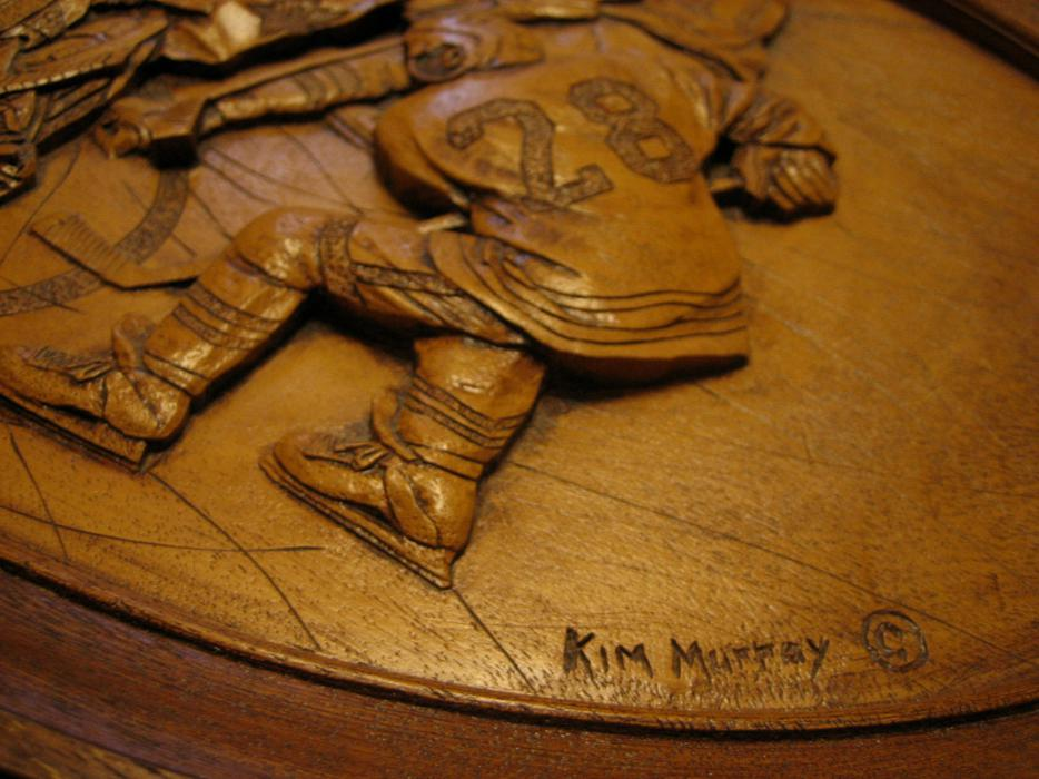Vintage wood hockey carving kim murray he scores creative