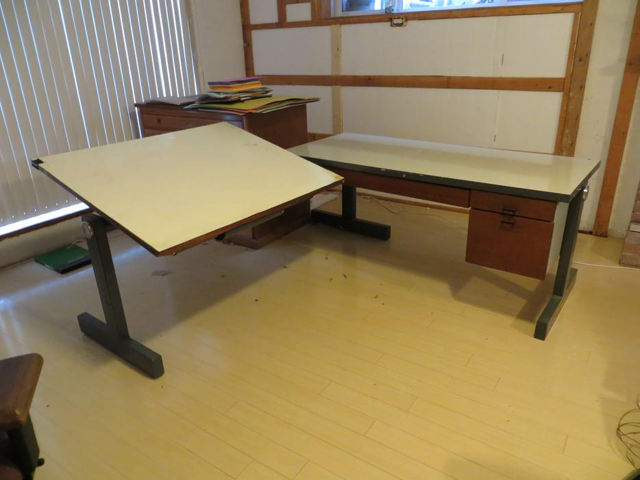 two drafting table with desk l shaped saanich