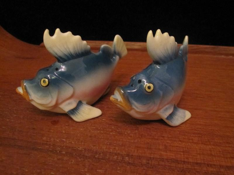 Pair Of Fun And Funky Vintage Porcelain Fish Salt And
