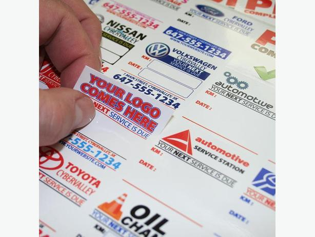 1000 Custom Full Color Oil Change Stickers - Static Cling or Low Tack Vinyl