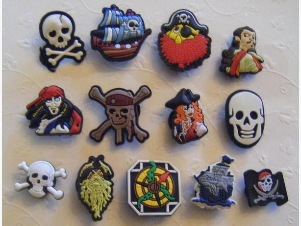 Set of 13 Pirate Shoe Charms or Magnets
