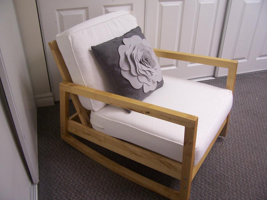 Stylish White And Birch Ikea Lillberg Rocking Chair For Sale Gloucester,  Ottawa