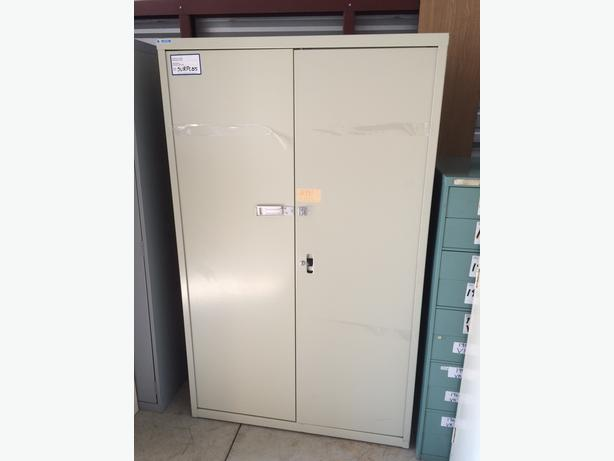 Storage Cabinets (Supply Cabinets), 2 doors, large and small, all metal.