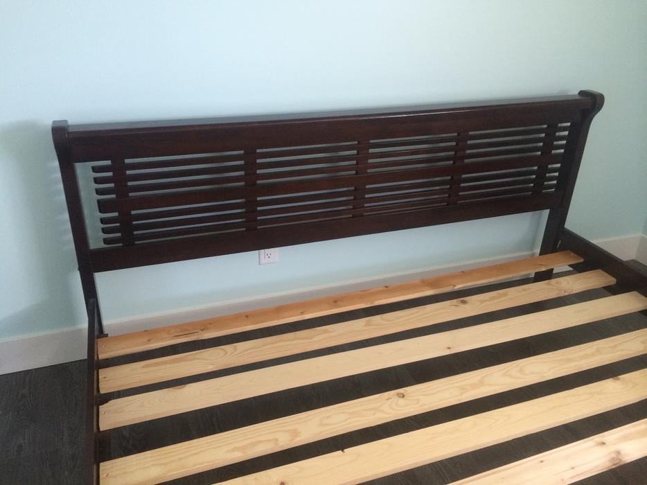 Dark wood king bed frame esquimalt view royal victoria for Used wooden bed frames