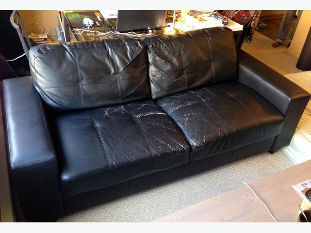 Costa Black Bonded Leather Sofa 100 O B O Asap Oak Bay