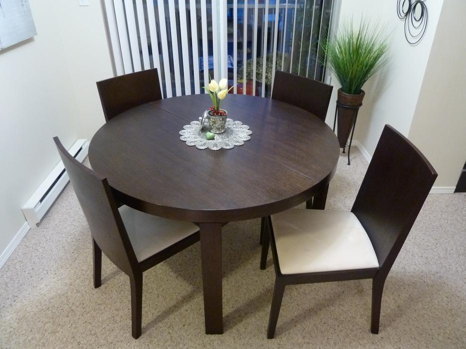 obo dark wood dining room table chairs central nanaimo