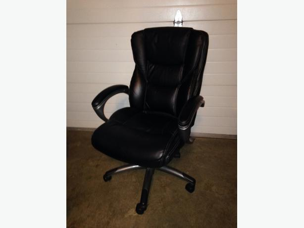 Black Leather Office Chair West Shore Langford Colwood