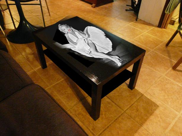 Marilyn monroe white dress coffee table saanich victoria for Dressing a coffee table