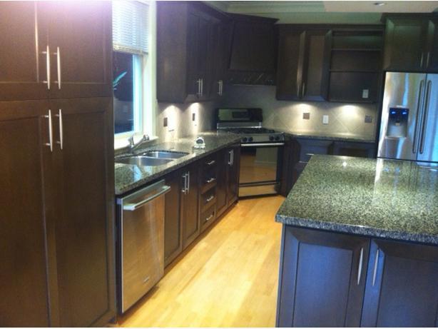Used Full Kitchen Walnut Door Cabinets/Granite Countertops Vancouver ...