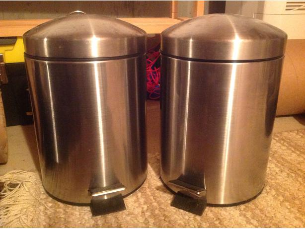 Pair Of Stainless Steel Small Bathroom Garbage Cans