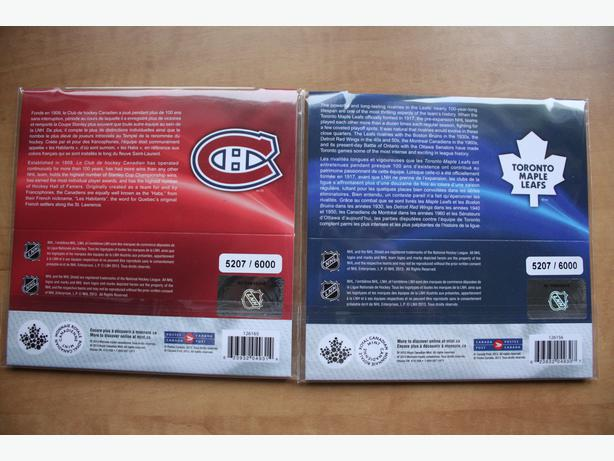 NHL COIN & STAMP SET--Toronto Maple leafs and Montreal Canadiens(Same serie No.)