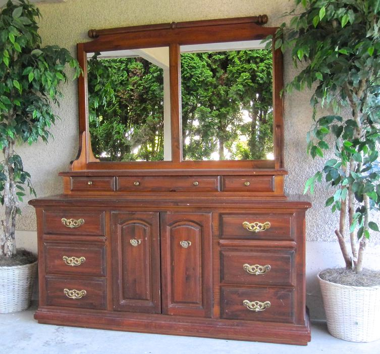 solid wood kroehler vintage dresser credenza hutch bedroom dining room