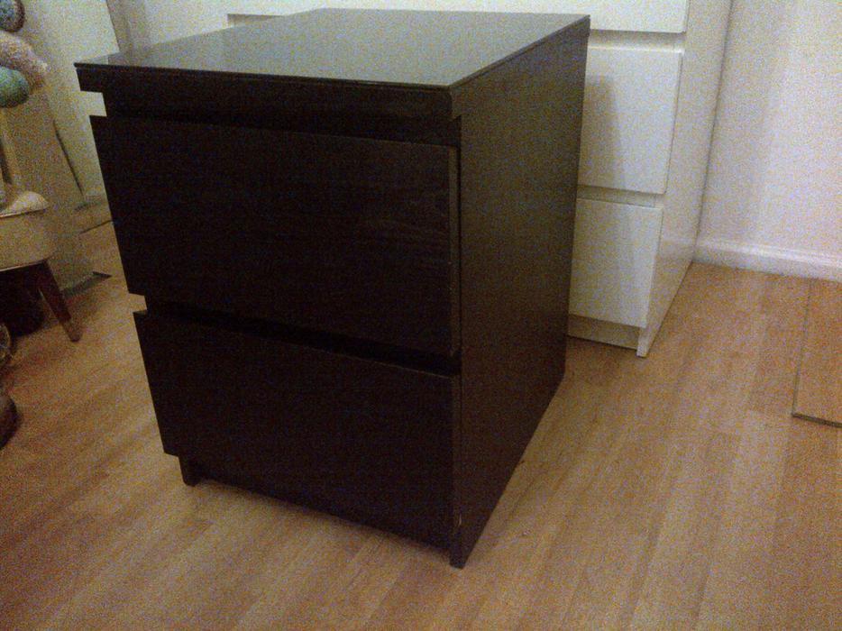 Ikea malm bedside table black brown victoria city victoria for Ikea black malm