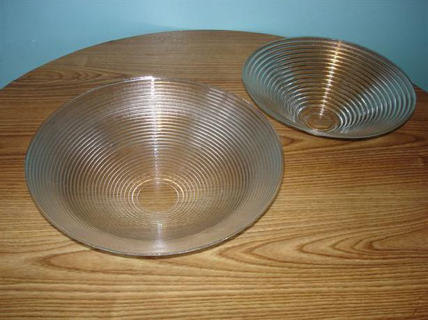**SOLD***2 MCM Large Rimmed Glass Serving Decorative Bowls
