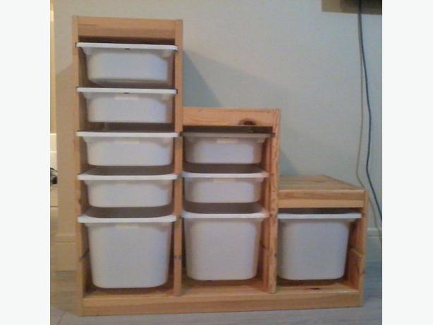 Ikea trofast storage shelf with storage boxes west shore for Ikea daycare furniture