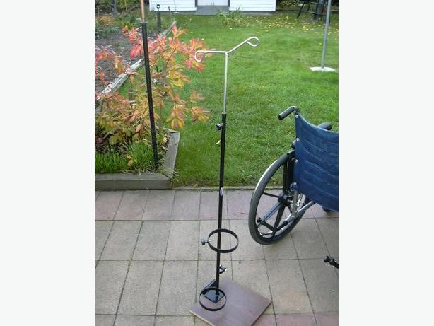 Invacare wheelchair oxygen tank holder with iv bag pole