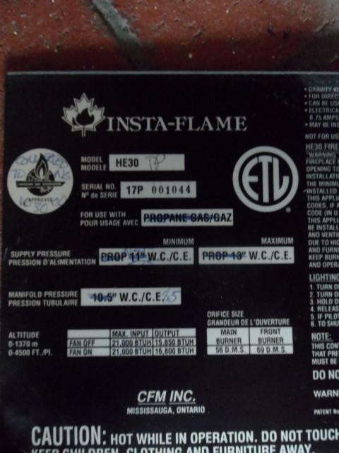 Majestic Insta-flame Gas Fireplace Insert (HE30) Saanich, Victoria