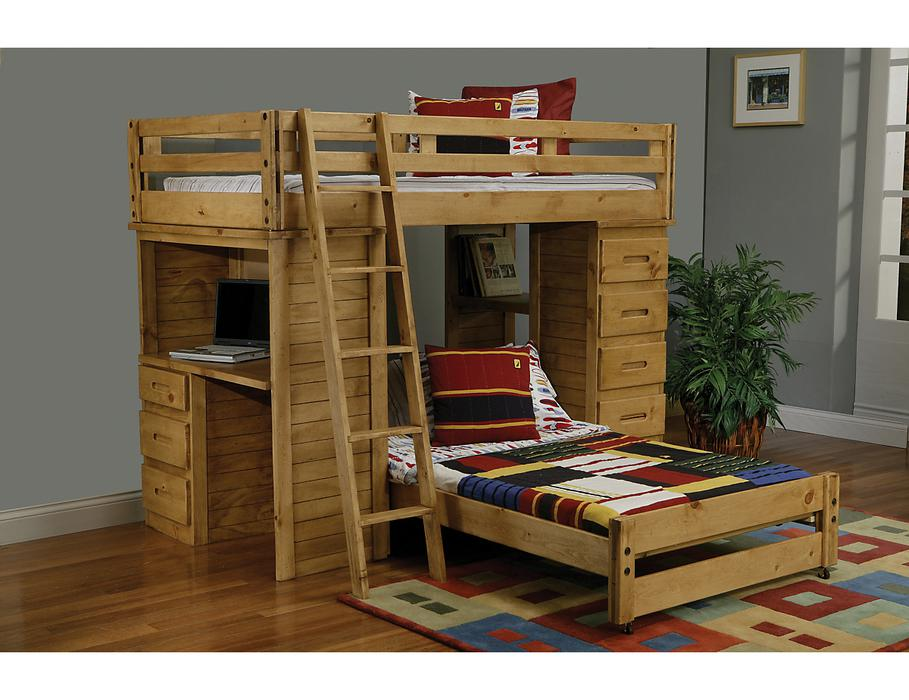 Ponderosa Pine Student Loft Bunk Bed With Desk And