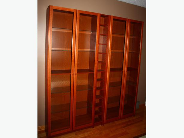 ikea billy book shelves wall unit with glass doors. Black Bedroom Furniture Sets. Home Design Ideas