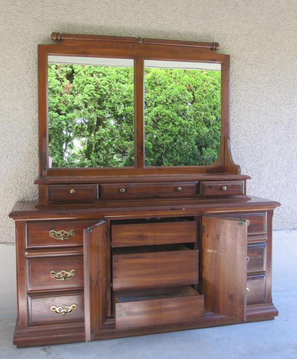 Bedroom Credenza: Solid Wood Kroehler Vintage Dresser Credenza Hutch Bedroom