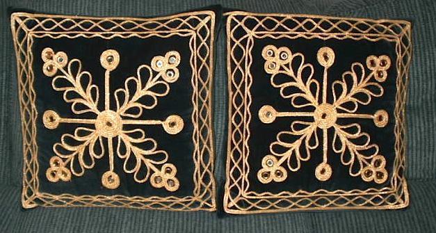 Two Black Throw Pillows adorned w/mini-mirrors, fancy gold trim Central Regina, Regina