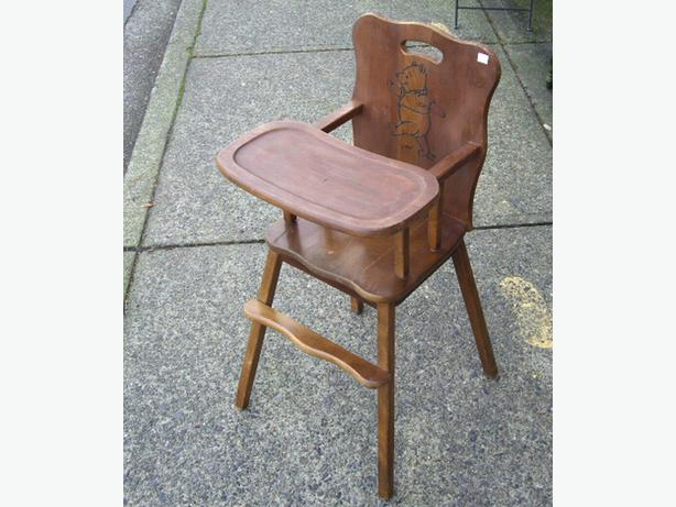 Cute winnie the pooh wood high chair or plant stand outside victoria