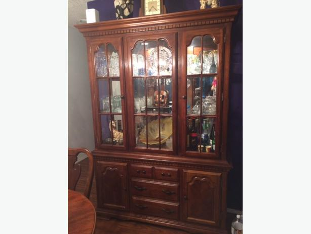 in needed 500 obo real wood hutch and oval table dining room set