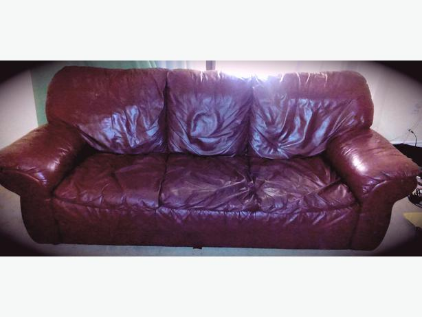 Comfy Furniture Set Wine Colored Italian Leather Couch