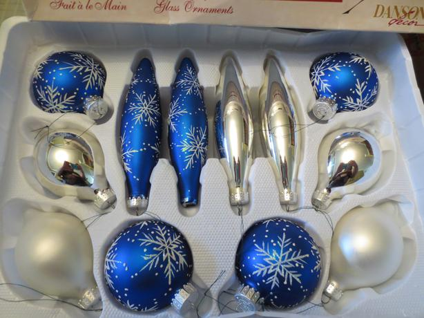 White Christmas Tree Blue Ornaments : Blue silver white christmas tree ornaments saanich victoria