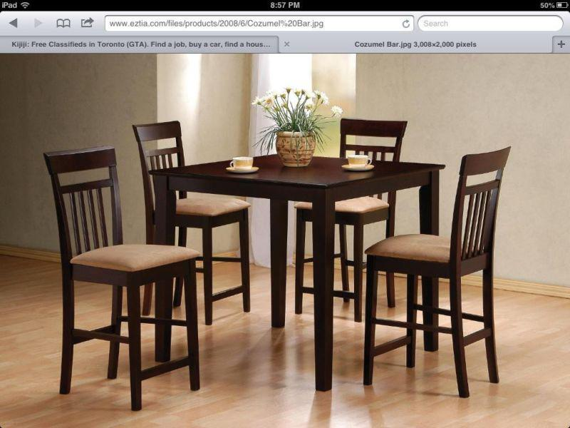 Modern style EZTIA dinning table set with 4 bar stools  : 43046080934 from www.usedvictoria.com size 800 x 600 jpeg 67kB