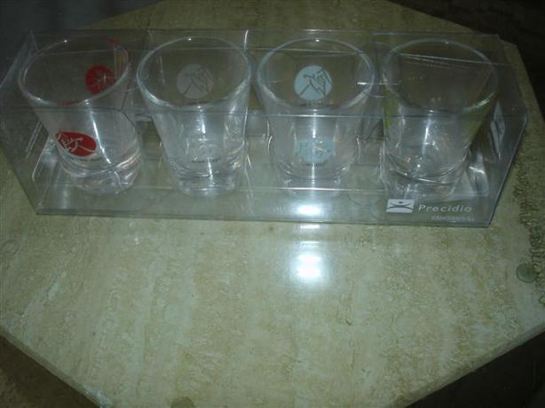 COOL SET OF 4 Fortunes Shot Glasses-AWESOME GIFT!