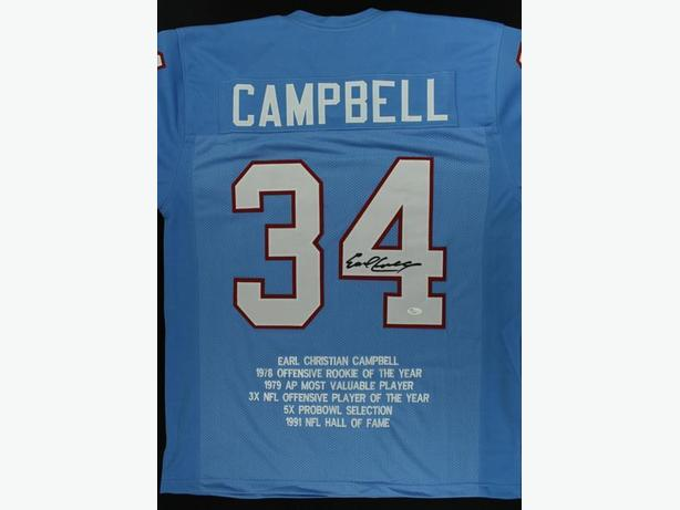 Earl Campbell Signed Stat Jersey JSA COA