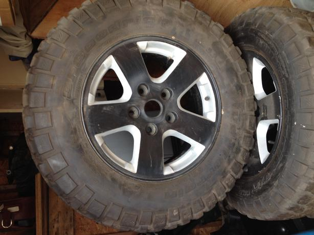 "Used Tires Winnipeg >> 4 245/75 r17 BF Goodrich mud terrain tires on 17"" dodge truck rims East Regina, Regina"