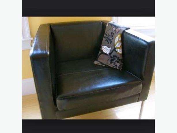 ikea 2 KLAPPSTA black leather armchair - 180$ Scarborough ...
