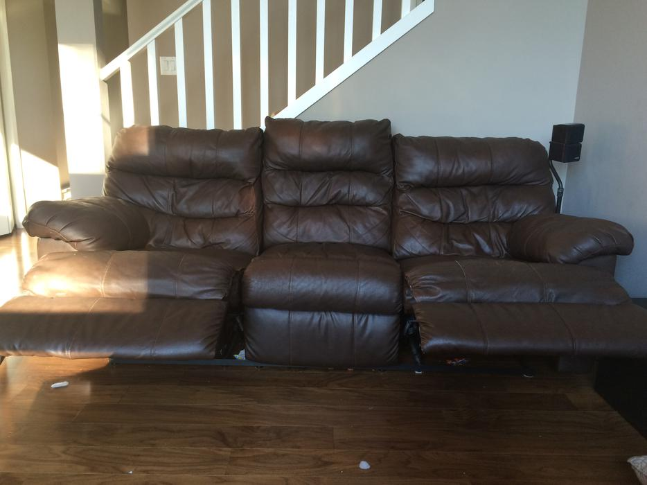 Dual Reclining Brown Leather Couch Sooke Victoria Mobile