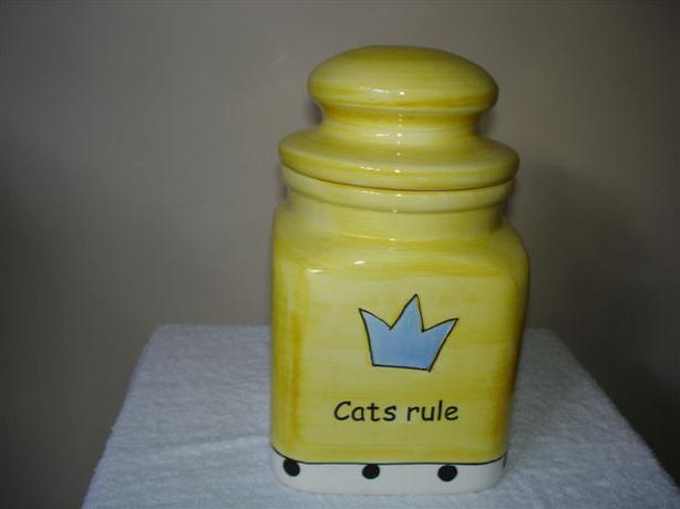 It's the Cat's Pajamas - Cats Rule Ceramic Treat Jar GREAT GIFT!
