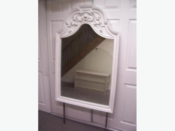 Elegant large antique white dresser mirror for sale for Large white mirrors for sale