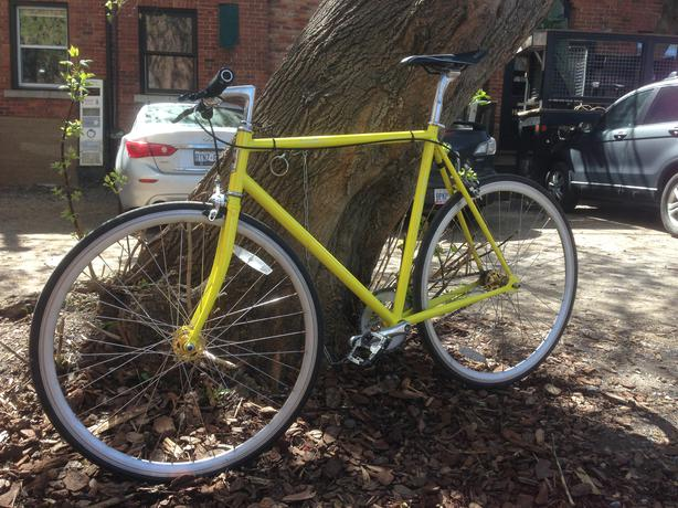 fuji feather 56 cm frame yellow single speed fixed gear. Black Bedroom Furniture Sets. Home Design Ideas