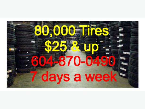THOUSANDS OF HIGH QUALITY BRAND NAME TIRES AT 25$&up per TIRE!!